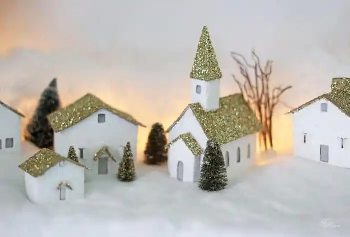 Cardboard Christmas Village houses- Free Silhouette Cut files Made from Cereal Boxes