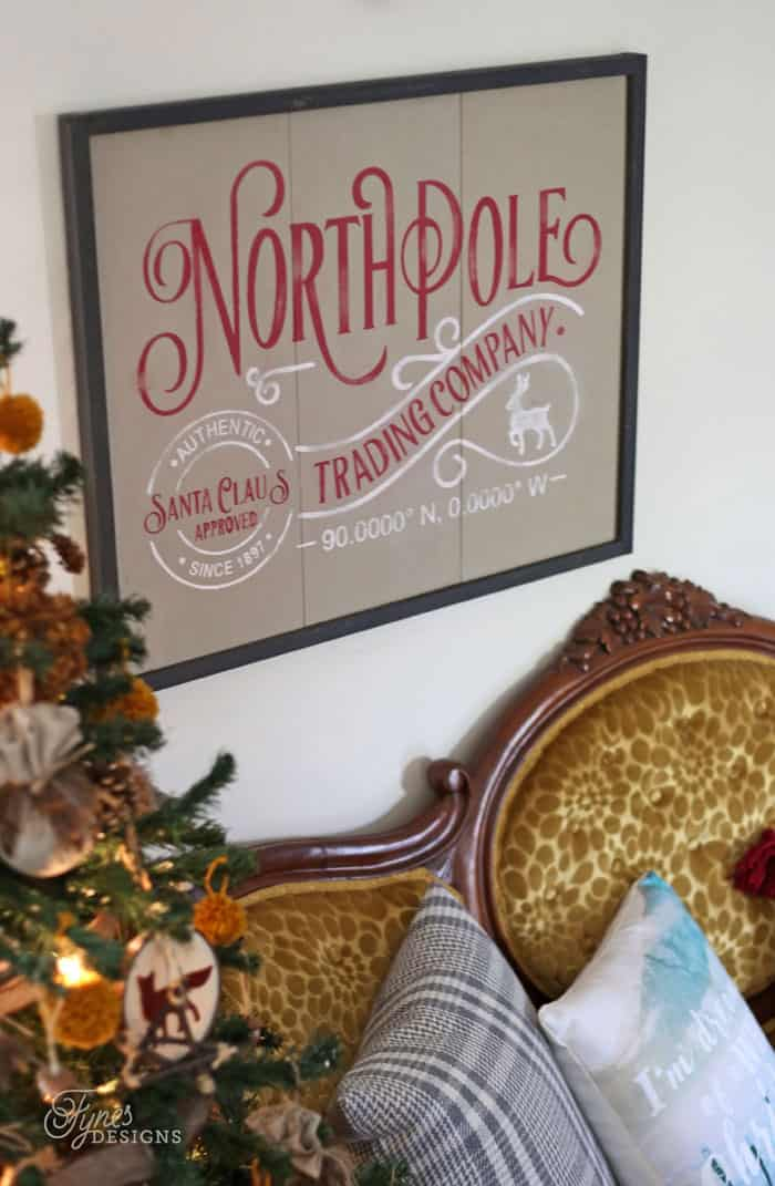 Free Christmas cut files featured by top US craft blog, Fynes Designs: North Pole Trading Company sign