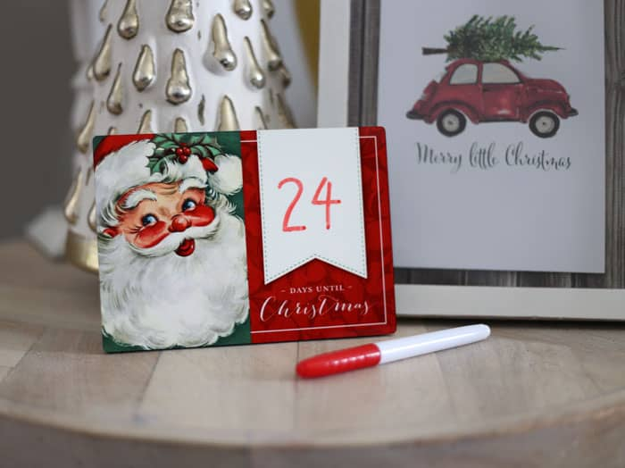 Jolly Santa Christmas countdown wipeboard
