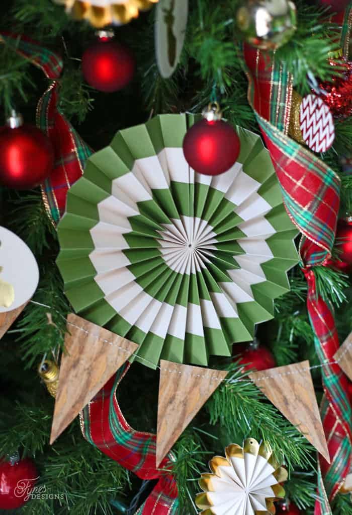 Paper pinwheels on a Christmas tree give a lot of visual interest