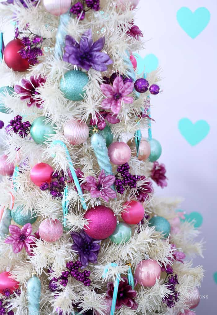Girls bedroom tree in pink and purple