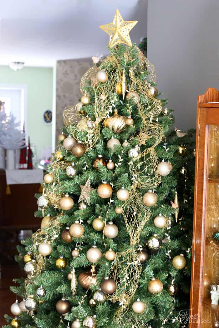 Gold Christmas tree- Fynes Designs Christmas Home tour
