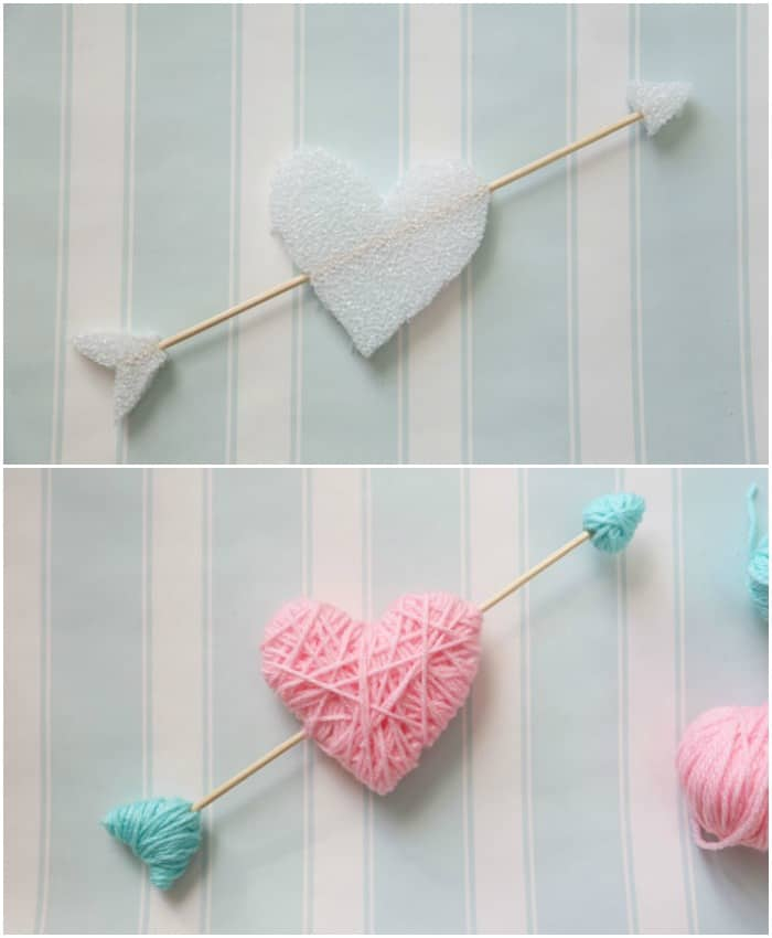 Yarn Wrapped Hearts tutorial featured by top US craft blog, Fynes Designs: Wrap styrofoam hearts in yarn for a kid friendly Valentine's Day craft. NO GLUE, NO MESS!
