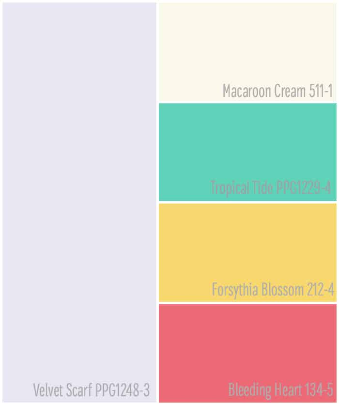 Colorful scheme for girls bedroom decor from Voice of Color paints