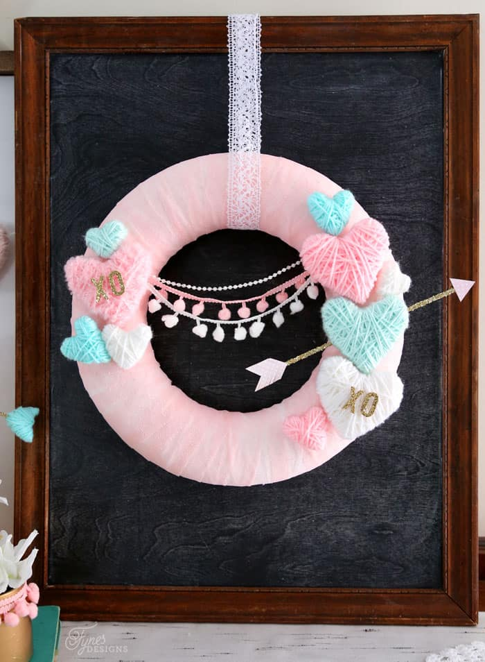 Yarn Wrapped Hearts tutorial featured by top US craft blog, Fynes Designs: Valentine's Day wreath