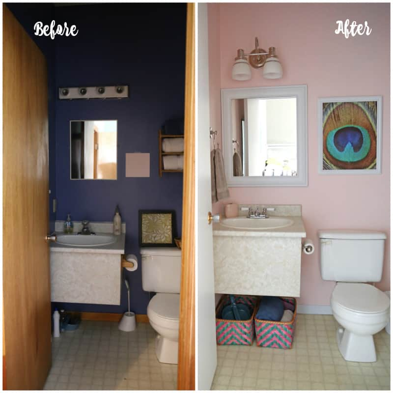 Before and after bathroom facelift