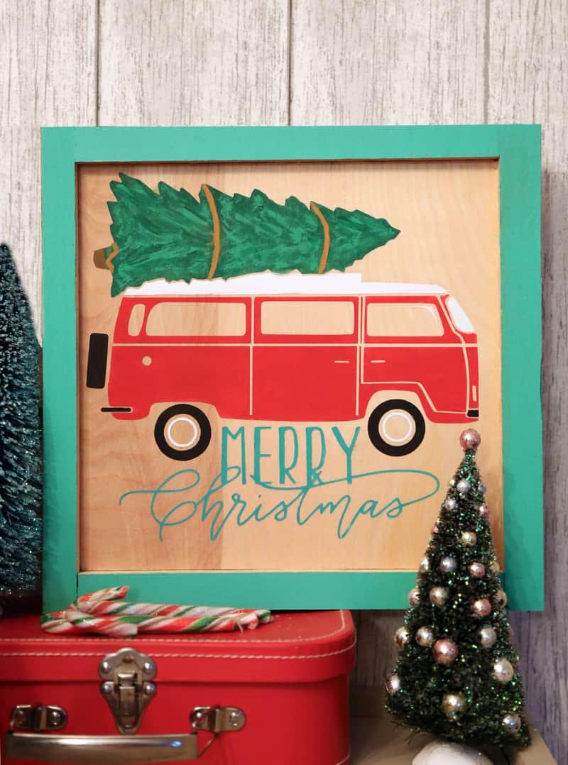 Painted Christmas Vintage Camper Van sign- FREE Silhouette Cut Files