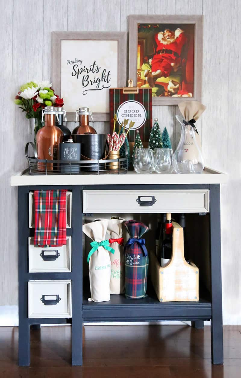 Holiday Bar Cart with lots of personalized gift ideas