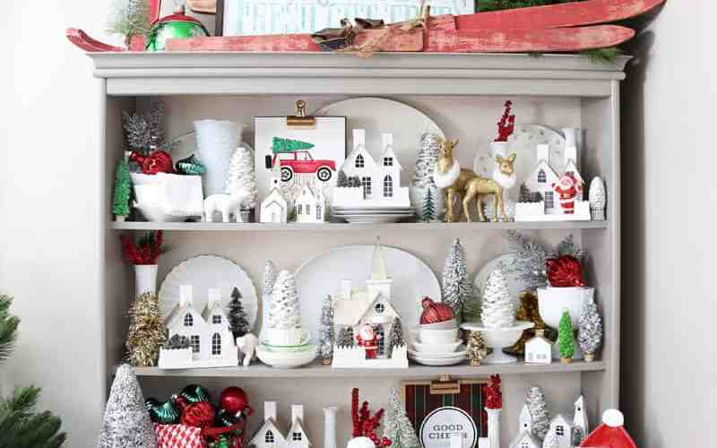 Red and Green Christmas kitchen hutch. Vintage christmas village