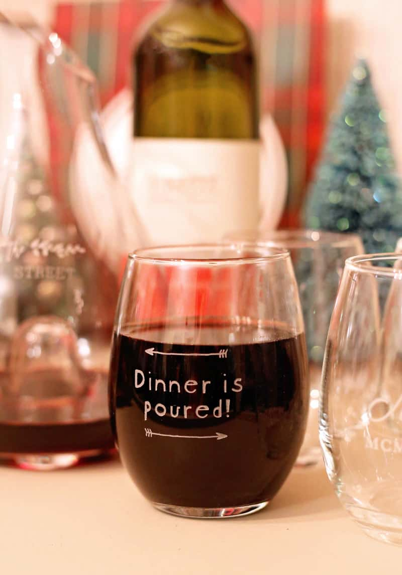Personalized stemless wine glasses from Shutterfly