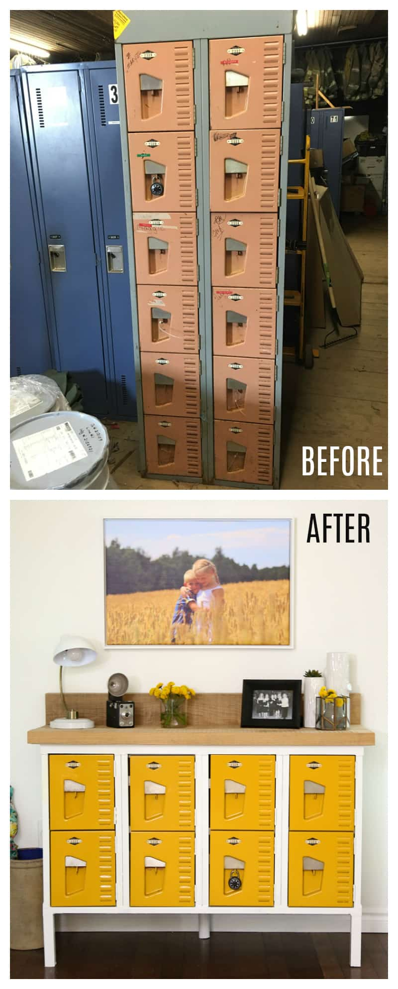 Vintage Locker Console Table Before and After