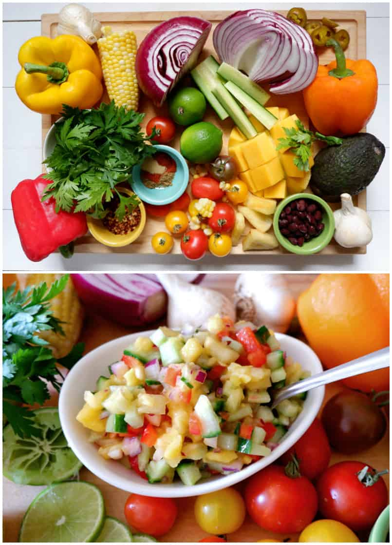 Weight Watchers Chicken Tacos Recipe featured by top US life and style blog, Fynes Designs    Fresh Mango Pineapple Weight Watchers smart points salsa