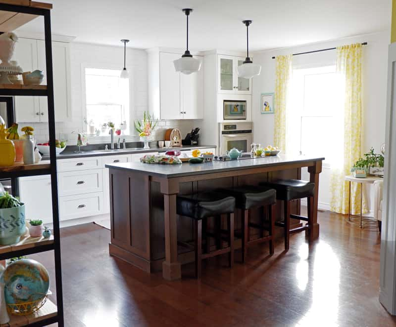 Crisp modern kitchen with a bright pop of yellow