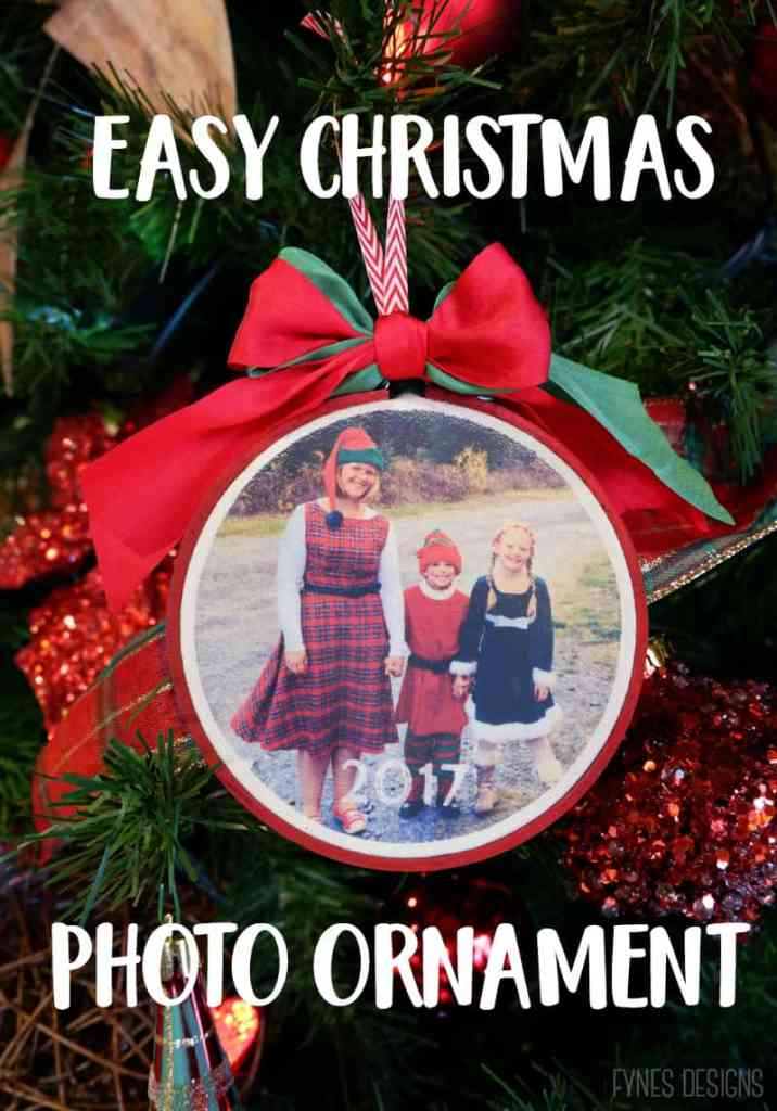 Easy DIY iron on Christmas photo ornaments |SVG Files by popular Canada DIY blog, Fynes Designs: Pinterest image of a photo ornament.