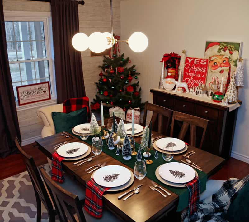 Christmas dining room table setting ideas