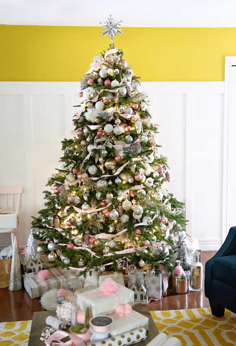 Fynes Designs Christmas Tree Decorations in pink, white and silver