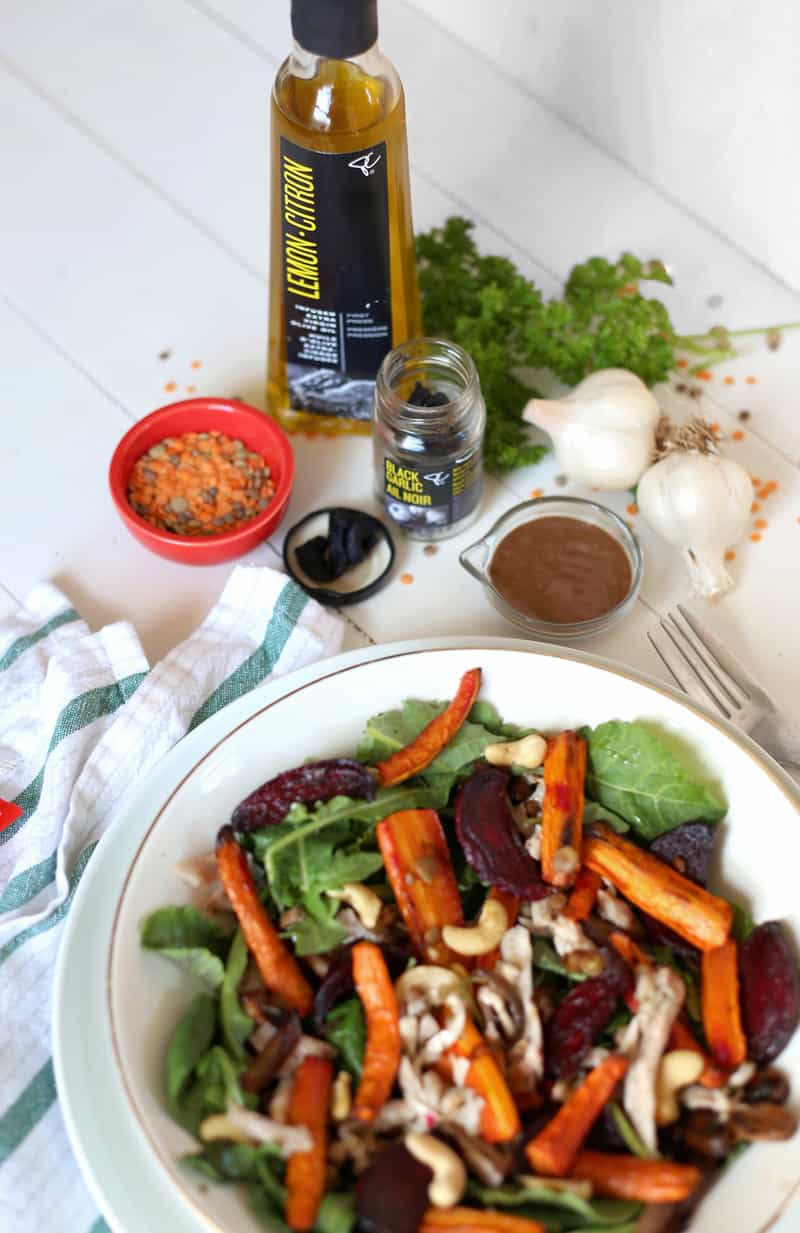 Leftovers Revival- Next Day Roasted Carrot and Beet Salad with Black Garlic creamy Dressing