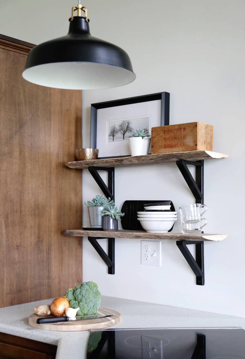 Custom live edge shelves using Ikea EKBY VALTER brackets