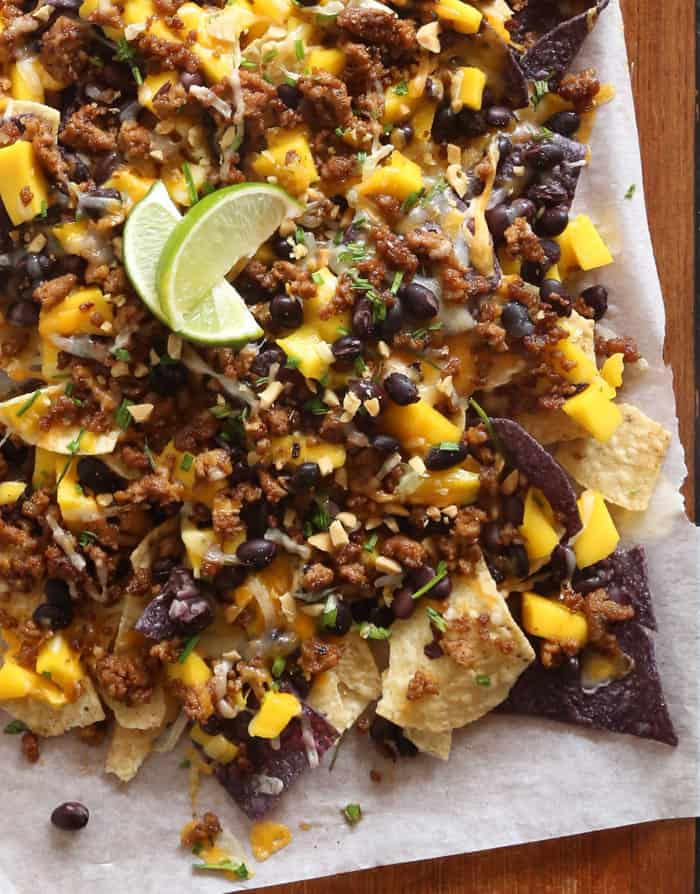 Mango, Black Bean and Peanut Nachos