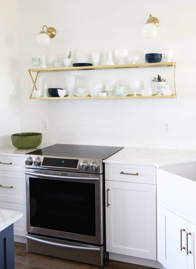 mixed metals in a modern farmhouse kitchen