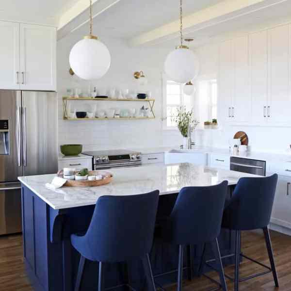 Glam Farmhouse kitchen reveal with Dekton countertop and Jeffery Court Tile