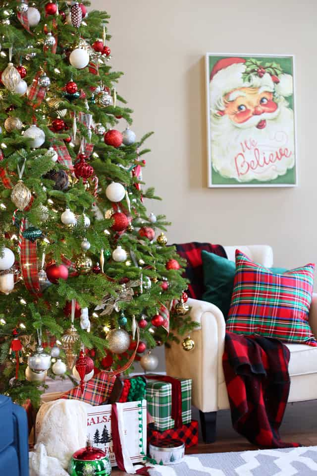 12' natural Christmas tree decorated in red plaid, with white, silver and gold accents