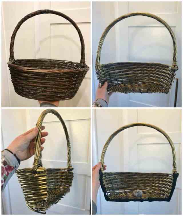 Cut a basket with large kitchen shears to easily create a wreath