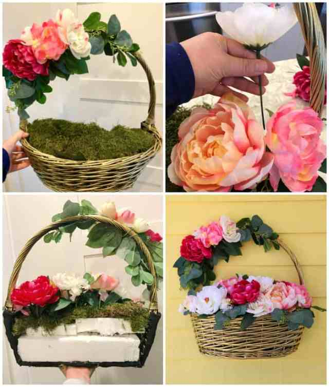 Dollar Store crafts- How to create a beautiful basket wreath for your front door