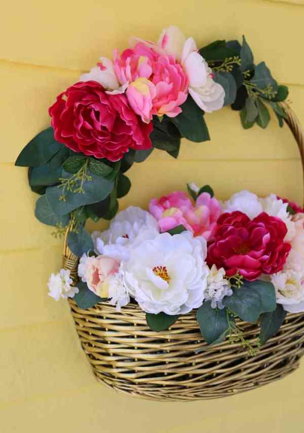 Dollar Store crafts- How to create a beautiful flower basket full of peonies for your front door.