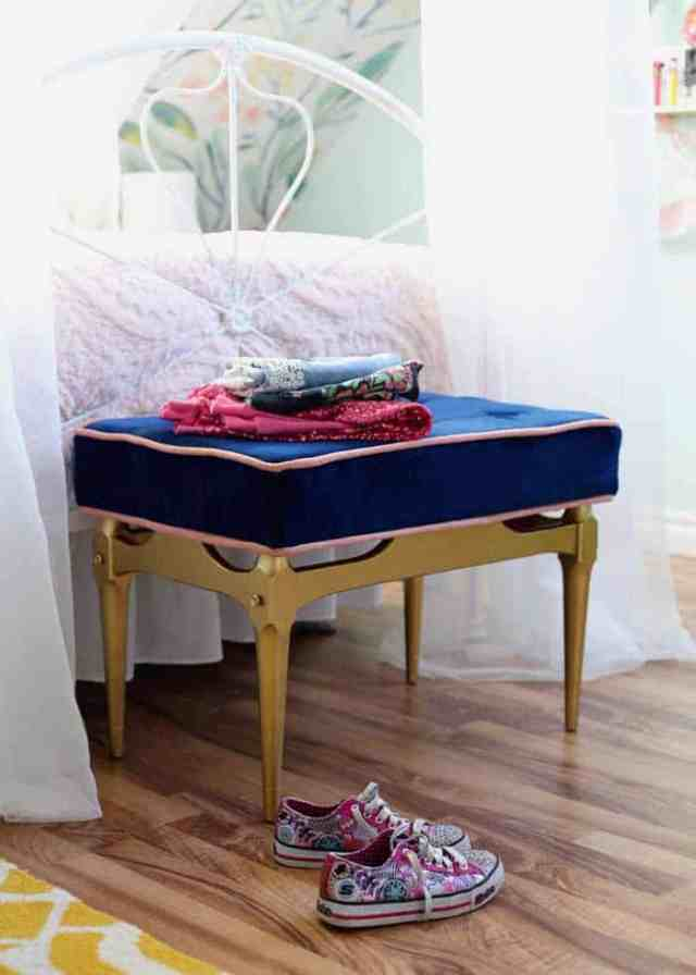Coffee table turned into a blue tufted bench