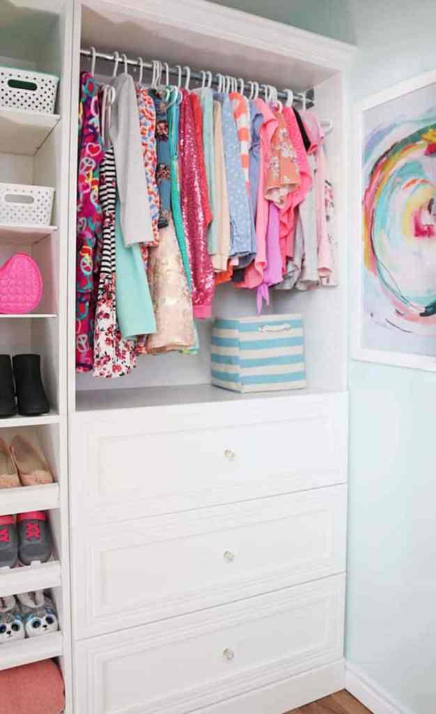 Young girls walk-in closet