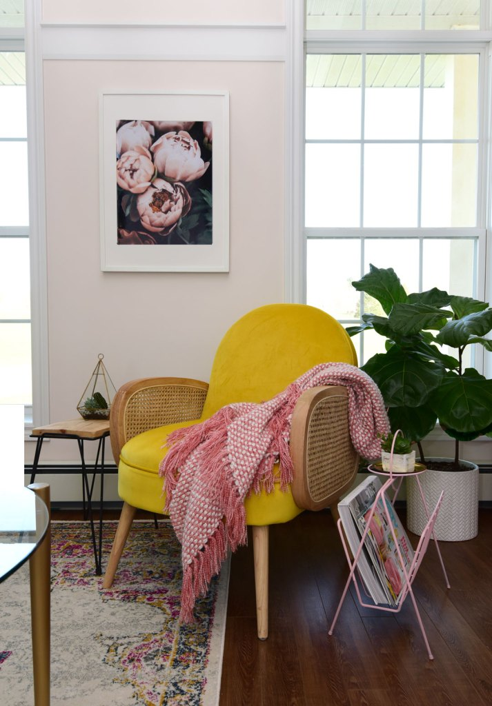 Colorful Modern Living Room Design featured by top US design blog, Fynes Designs: image of Velvet yellow chair with mid-century modern details