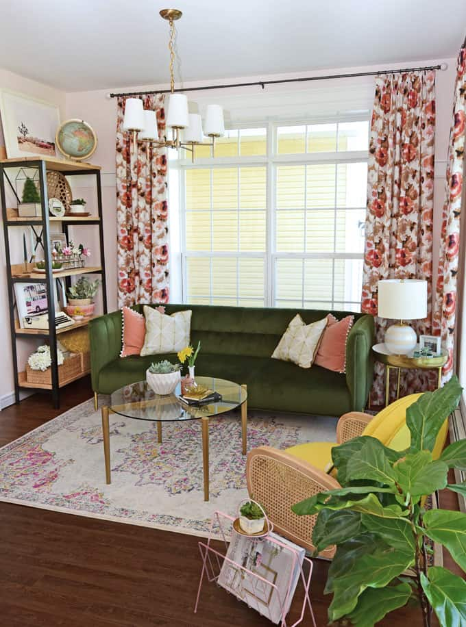 Colorful Modern Living Room Design featured by top US design blog, Fynes Designs: image of an olive green sofa and floral drapes