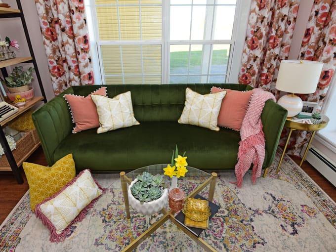Colorful Modern Living Room Design featured by top US design blog, Fynes Designs