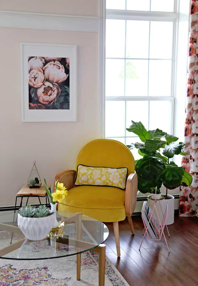 Colorful Modern Living Room Design featured by top US design blog, Fynes Designs: image of Yellow velvet chair with cane details