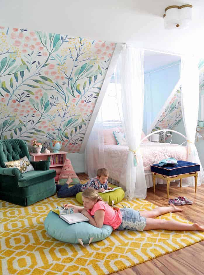 How to Sew a DIY Floor Pillow tutorial featured by top US craft blog, Fynes Designs: image of kids on diy floor pillows