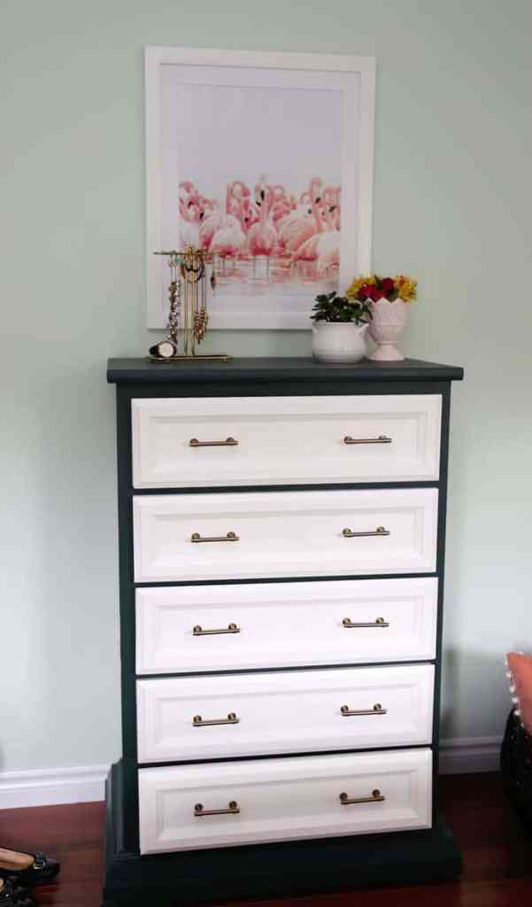 Bright and Colourful Master Bedroom refresh | Colorful Master Bedroom Refresh by popular home decor blog, FYN Designs: image of a dresser with D. Lawless hardware Champagne Bronze Francisco Pulls.