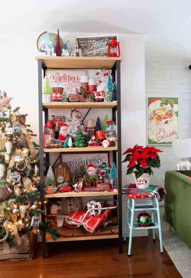 Christmas Home Decor Tour featured by top US design blog, Fynes Designs: Christmas shelf vignette | Holiday Home Decor Tour 2019 by popular Nova Scotia life and style blog, FYNE Designs: image of a shelf with various Christmas decorations.