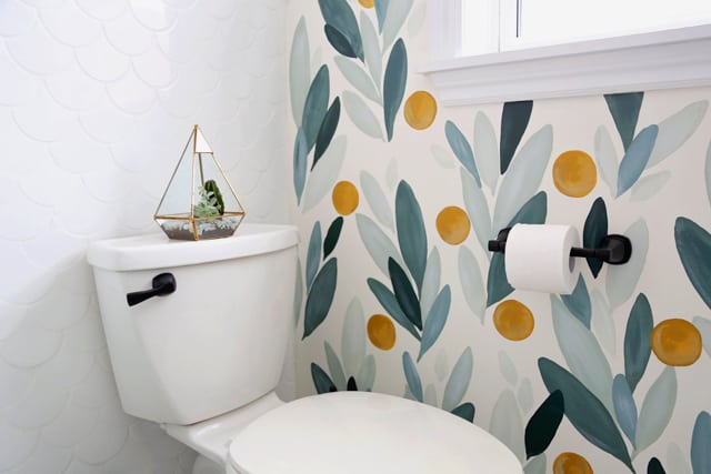 Colourful Bathroom Makeover Ideas: Before and After Pictures featured by top US design blog, Fynes Designs: Delta Stryke bathroom accessories