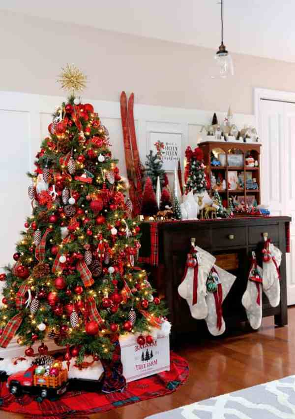 Christmas Home Tour featured by top US design blog, Fynes Designs: Red themed Christmas decorations
