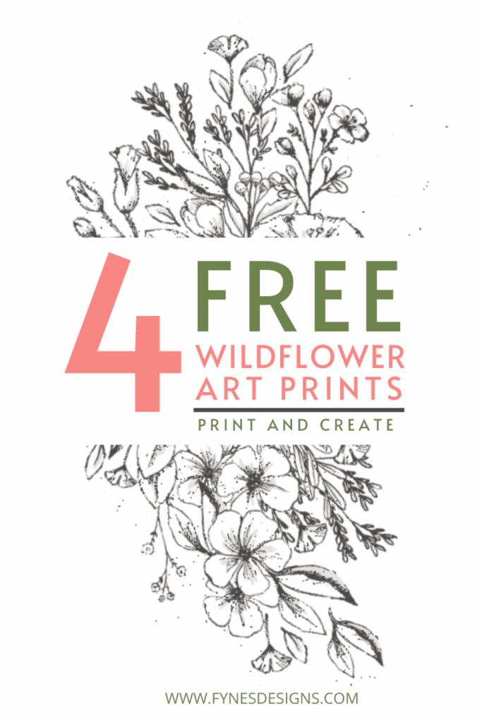 Free wildflower art printable. Print and create with watercolour or pencil crayons, or leave black and white for a piece of neutral artwork. | How to Print on Watercolor Paper by popular US interior design blog, Fynes Designs: Pinterest image of four wildflower watercolor printables.