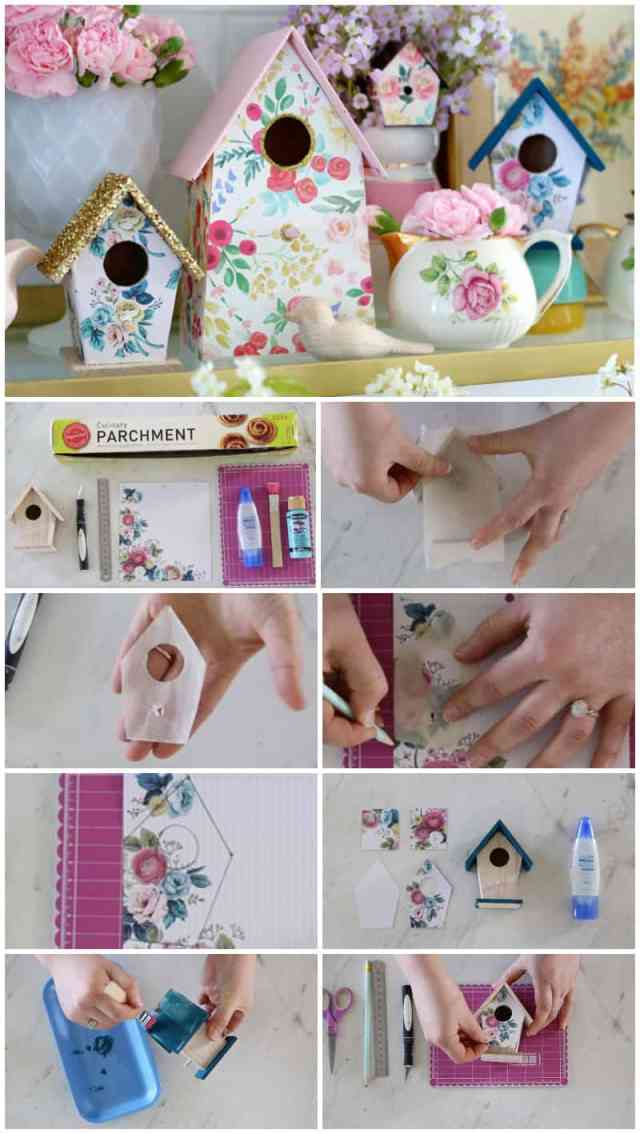 How to Customize your Dollar Store Birdhouse Kit , a tutorial featured by top craft blog, Fynes Designs. | Birdhouse Kit by popular US craft blog, Fynes Designs: image of diy birdhouses decorated with paint, floral craft paper, and gold glitter.