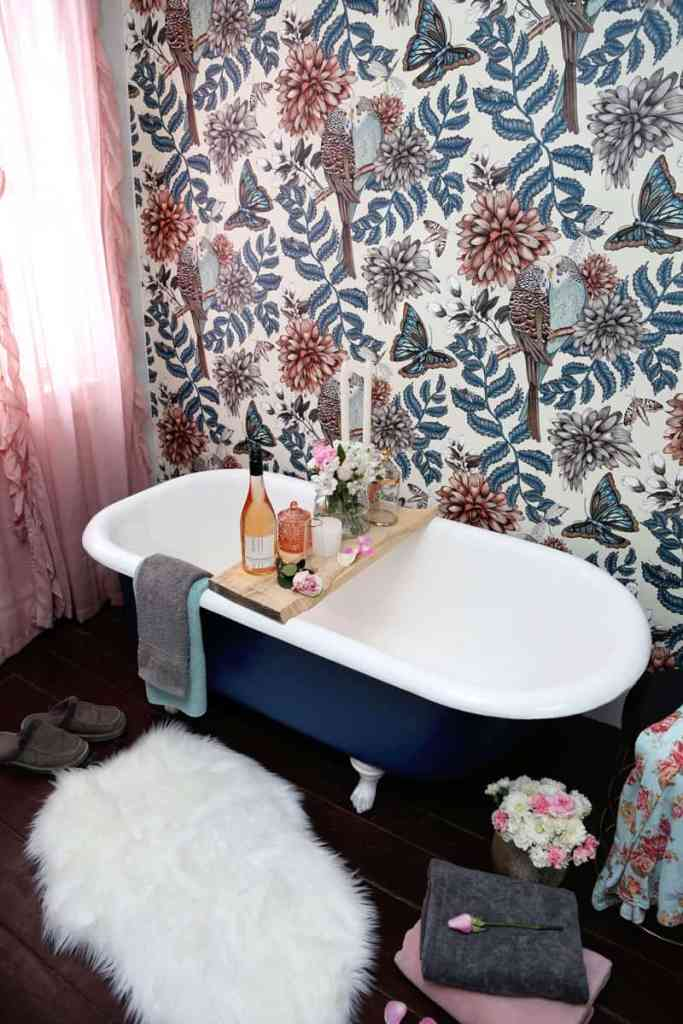 Before and After DIY Floral Weekend Bathroom Makeover featured by top DIY blog, Fynes Designs