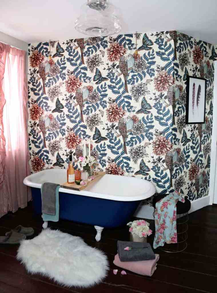 Before and After DIY Floral Weekend Bathroom Makeover featured by top DIY blog, Fynes Designs: lovebirds photowall wallpaper