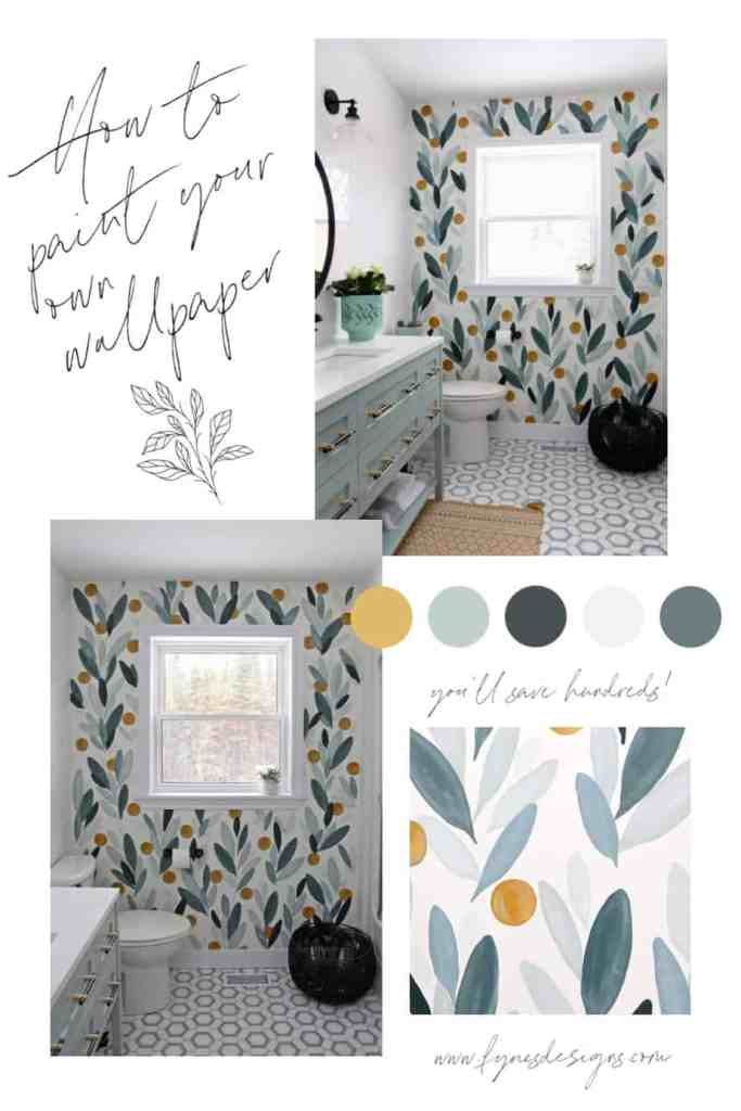 How to paint your own wallpaper mural, a step by step tutorial featured by top life and style blog, Fynes Designs | How to Paint Over Wallpaper in a Bathroom by popular US DIY blog, Fynes Designs: Pinterest image of how to paint your own bathroom wallpaper.