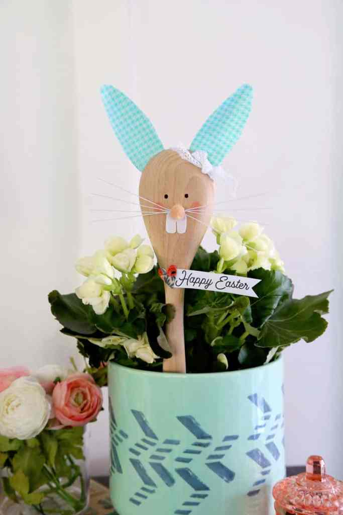 Easter Bunny Crafts: How to Make a Cute Wooden Spoon Easter Bunny, a tutorial featured by top craft blog, Fynes Designs: Cute Easter Bunny Crafts from a wooden spoon | Easter Bunny Crafts by popular interior design blog, Fynes Designs: image of a wood spoon Easter Bunny.