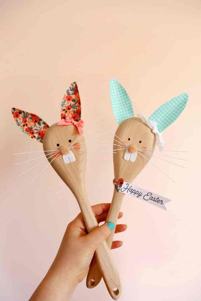 Easter Bunny Crafts: How to Make a Cute Wooden Spoon Easter Bunny, a tutorial featured by top craft blog, Fynes Designs | Easter Bunny Crafts by popular interior design blog, Fynes Designs: image of a wood spoon Easter Bunny.