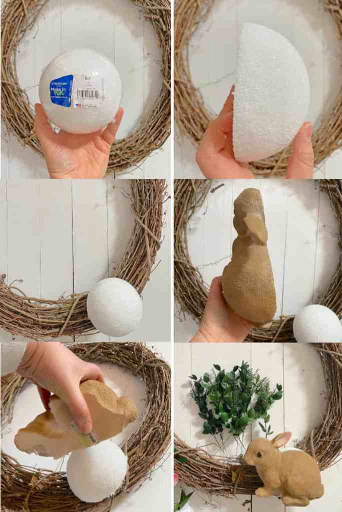 How to Put a Garden Bunny on a Spring Wreath for your Front Door   Easy Spring Wreath Idea by popular interior design blog, Fynes Designs: image of a twig wreath, styrofoam ball, and plastic Dollar Store Easter Bunny.
