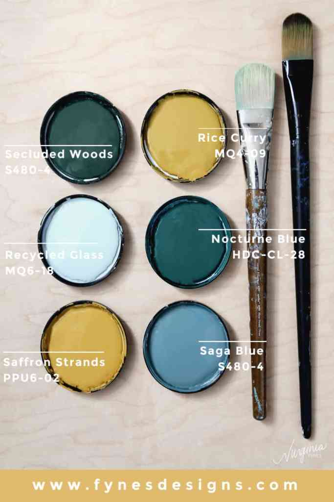 How to paint your own wallpaper mural, a step by step tutorial featured by top life and style blog, Fynes Designs: Behr paint colors used to paint your own wallpaper mural | How to Paint Over Wallpaper in a Bathroom by popular US DIY blog, Fynes Designs: image of Behr Paint colors Recycled Glass MQ6-18, Nocturne Blue HDC-CL-28, Saga Blue S480-4, Secluded Woods S480-4, Rice Curry MQ4-09, Saffron Strands PPU6-02.