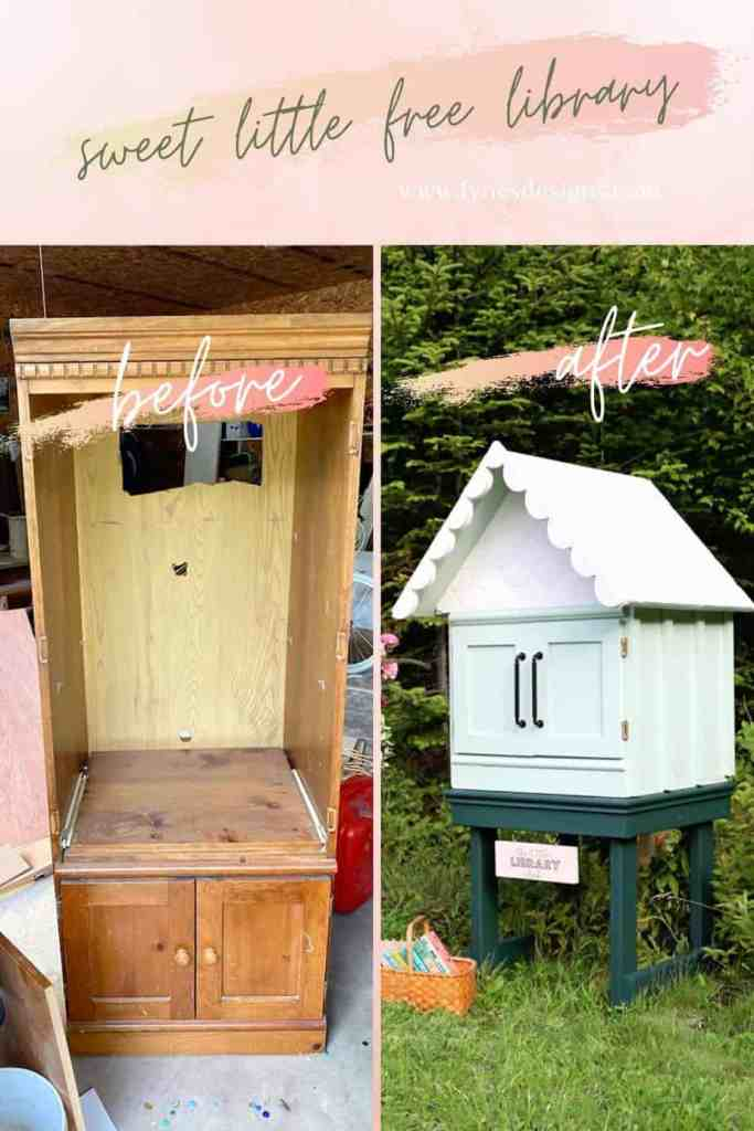 How to make a Sweet little free library | Little Free Library Plans by popular US DIY blog, Fynes Designs: before and after image of a free little library.